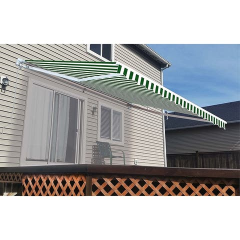 ALEKO Retractable 12 x 10 feet Awning Home Patio Canopy Green/White