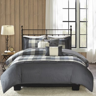 Madison Park Pioneer Grey 6 Pieces Printed Herringbone Duvet Cover Set