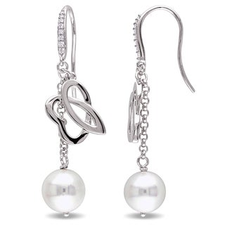 Miadora Signature Collection Sterling Silver Cultured Freshwater Pearl and 1/10ct TDW Diamond Hook Earrings (9-9.5 mm)