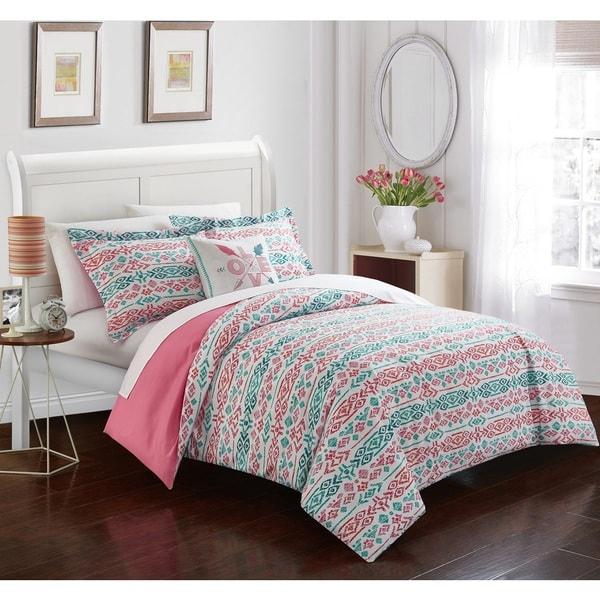 Chic Home Akira Pink Reversible 4-piece Duvet Cover Set