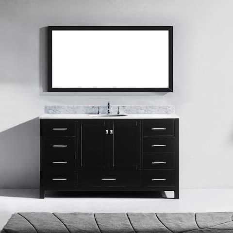 Caroline Avenue 60-inch White Marble Single Bathroom Vanity Set