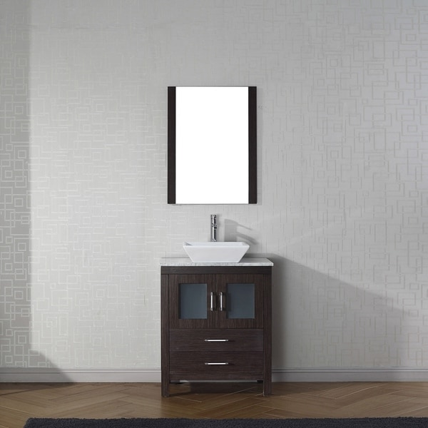 Virtu USA Dior 24-inch White Marble Single Bathroom Vanity Set with Faucet Options