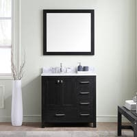 Virtu USA Caroline Premium 36-inch White Marble Single Bathroom Vanity Set with Offset Sink Option
