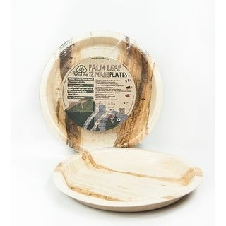 "EcoSouLife Palm Leaf - Main Plate 10"" / 25CM, Natural - 12 CT"
