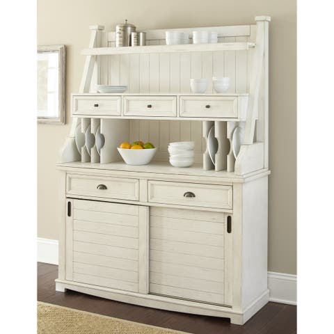 "Cottonville Farmhouse Antique White Storage Buffet Hutch by Greyson Living - 72""H x 54""W x 18""D"