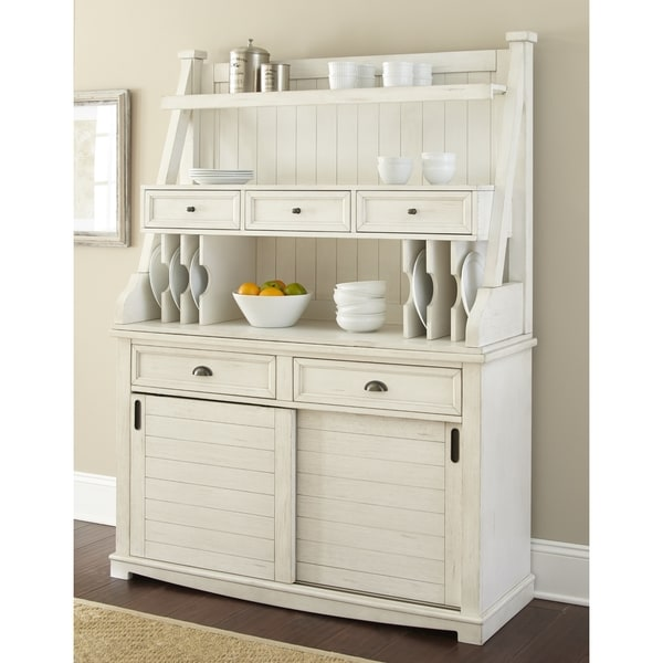 White Kitchen Buffet: Shop Cottonville Farmhouse Antique White Storage Buffet