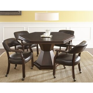 Montreal Brown Faux Leather and Wood 5-piece Game Set by Greyson Living