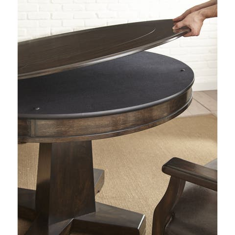 Reynolds Walnut Wood 52-inch 2-in-1 Round Game Table by Greyson Living