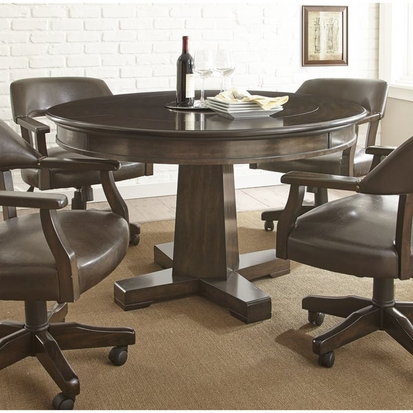 Shop Reynolds Walnut Wood Inch In Round Game Table By Greyson - 48 inch round office table