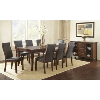 tempe brown wood and faux leather dining set by greyson living - Dining Room Set For 10