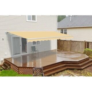 Aleko Ivory 10-feet x 8-feet Retractable Outdoor Patio Awning Deck Sunshade