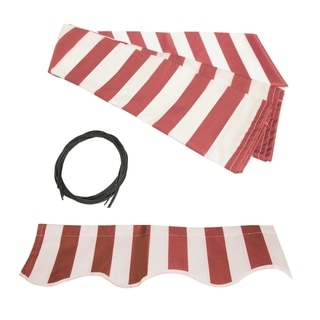Aleko Red/White 20' x 10' Motorized Retractable Outdoor Patio Awning Sunshade