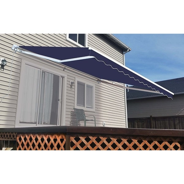 Aleko 10x8 Feet Retractable Outdoor Patio Awning Deck Sunshade Blue 10 X 8 Ft