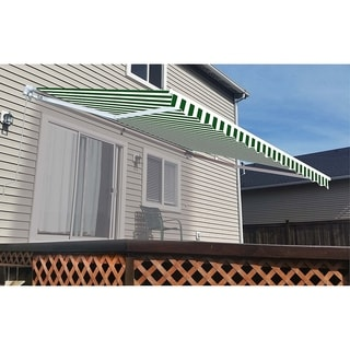 Aleko Motorized Green and White Stripe Retractable Outdoor Patio Awning