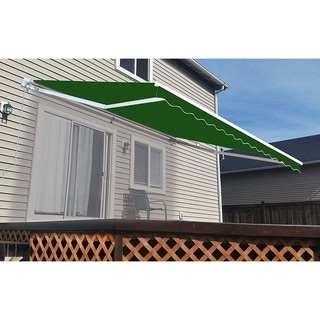 Aleko Green 10' x 8' Retractable Outdoor Patio Awning Deck Sunshade