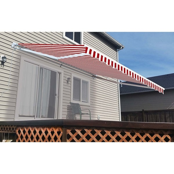 ALEKO 10x8 Feet Retractable Outdoor Patio Awning Deck Sunshade Red White Stripes - 10 x 8 ft