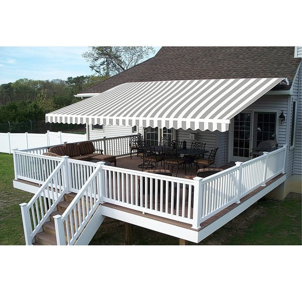 Aleko 10x8 Feet Retractable Outdoor Patio Awning Deck Sunshade Grey White Stripes