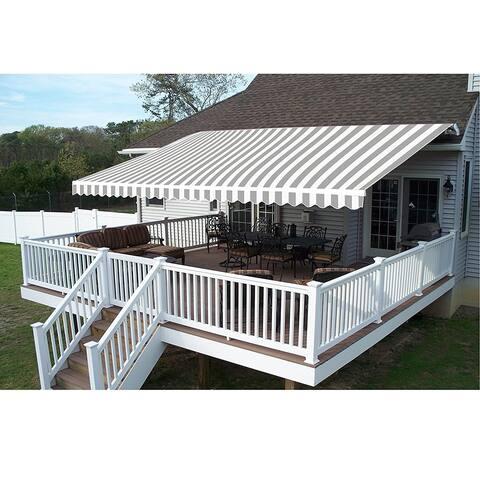 ALEKO 10x8 Feet Retractable Outdoor Patio Awning Deck Sunshade Grey White Stripes