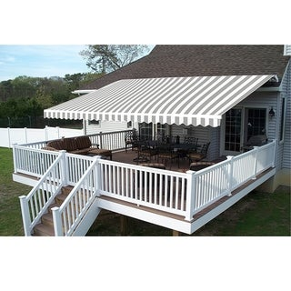 Aleko 10 x 8-foot Grey and White Striped Retractable Outdoor Patio Awning Deck Sunshade
