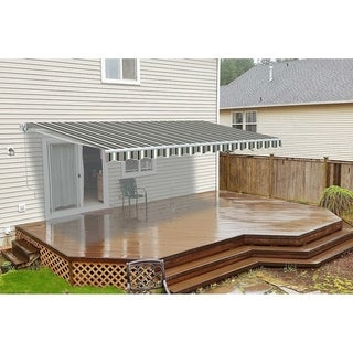 ALEKO 10x8 Feet Retractable Outdoor Patio Awning Deck Sunshade Multi-stripes Green - 10 x 8 ft