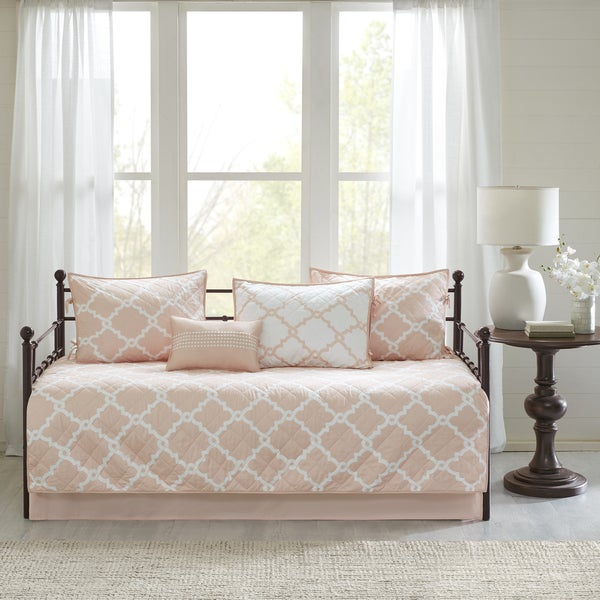 Madison Park Essentials Almaden Blush 6 Pieces Reversible Printed Daybed Set