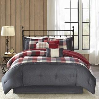 Madison Park Pioneer Red 7-piece Printed Brushed Herringbone Comforter Set