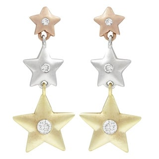 Luxiro Tri-color Finish Cubic Zirconia Star Earrings