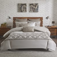 INK+IVY Anira Grey Cotton Embroidered Duvet Cover Mini Set