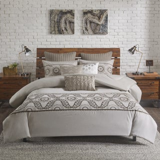 INK+IVY Anira Luxury Grey Cotton Metallic Embroidered Comforter Mini Set