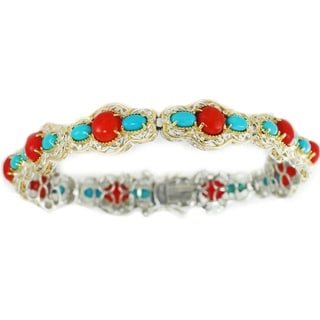 Michael Valitutti Palladium Silver Red Bamboo Coral & Sleeping Beauty Turquoise Tennis Bracelet