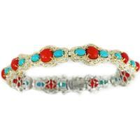 Michael Valitutti Palladium Silver Red Bamboo Coral & Sleeping Beauty Turquoise Tennis Bracelet