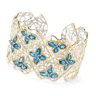 Michael Valitutti Palladium Silver London Blue Topaz Flower Station Cuff Bracelet