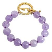 Michael Valitutti Palladium Silver Amethyst Quartz Beaded Toggle Bracelet - Purple