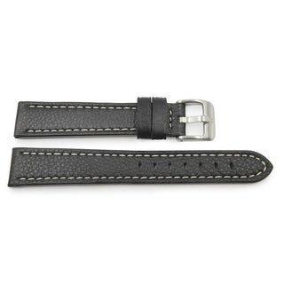 Thick Leather Black Watch Strap w/ Contrast Stitch (18mm, 20mm, 24mm)