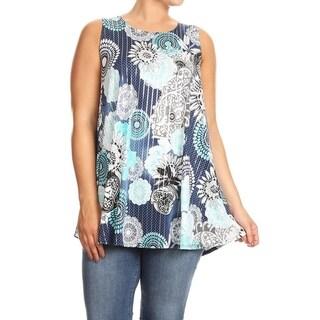 Women's Plus Size Sleeveless Floral Mandala Pattern Top