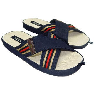 Men's Denim Crisscross Top Straps Flip-Flops Sandals (Option: Beige)|https://ak1.ostkcdn.com/images/products/17185373/P23445279.jpg?impolicy=medium