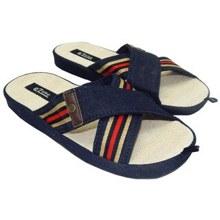 Men's Denim Crisscross Top Straps Flip-Flops Sandals
