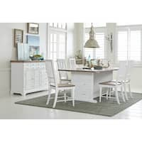 Shutters 74-inch Oak Top Distressed White Dining Table
