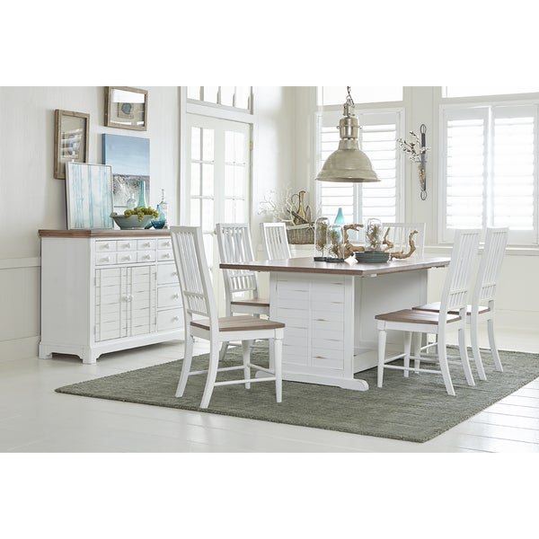 Shop Shutters 74-inch Oak Top Distressed White Dining Table - On Sale -  Free Shipping Today - Overstock - 17185411 ac1c9c54ee7a