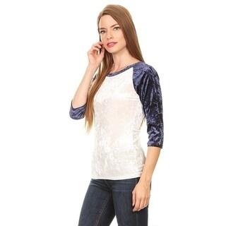 Women's Crushed Velvet Color Block Tunic