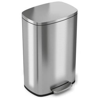 Halo Premium Silvertone Stainless Steel Step-style Trash Can|https://ak1.ostkcdn.com/images/products/17185476/P23446013.jpg?impolicy=medium