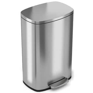 Halo Premium Silvertone Stainless Steel Step-style Trash Can