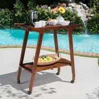 Verdes Outdoor Acacia Wood Bar Cart by Christopher Knight Home