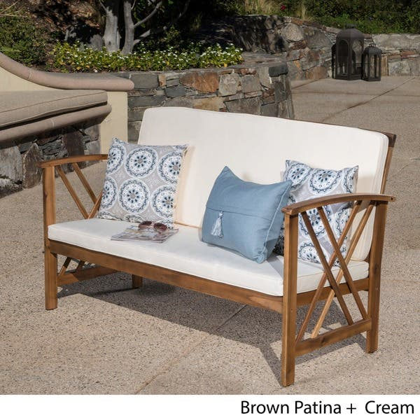 Wondrous Shop Langdon Outdoor Acacia Wood Bench With Cushions By Evergreenethics Interior Chair Design Evergreenethicsorg