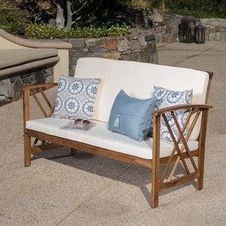 Longdon Outdoor Acacia Wood Bench with Cushions by Christopher Knight Home