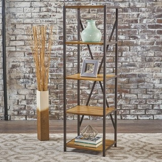 "Roney Modern Industrial 4 Shelf Acacia Wood Slim Bookcase by Christopher Knight Home - 14.50"" W x 17.00"" D x 56.50"" H"