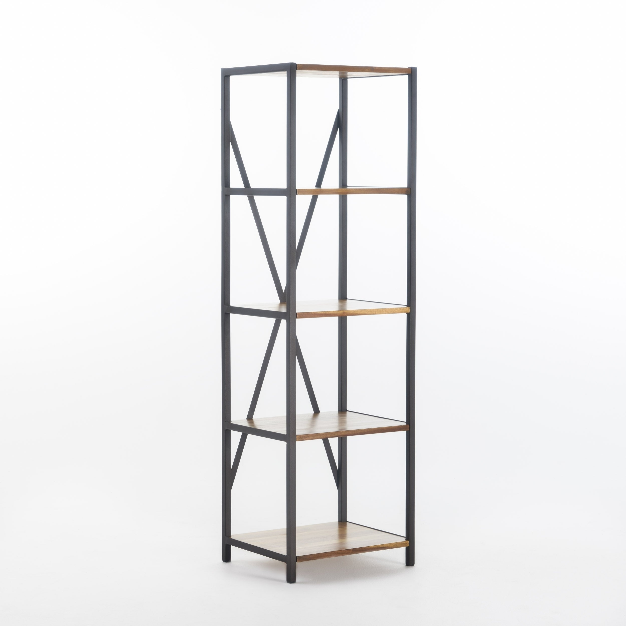 Roney Modern Industrial 4 Shelf Acacia Wood Slim Bookcase By Christopher Knight Home 14 50 W X 17 00 D X 56 50 H