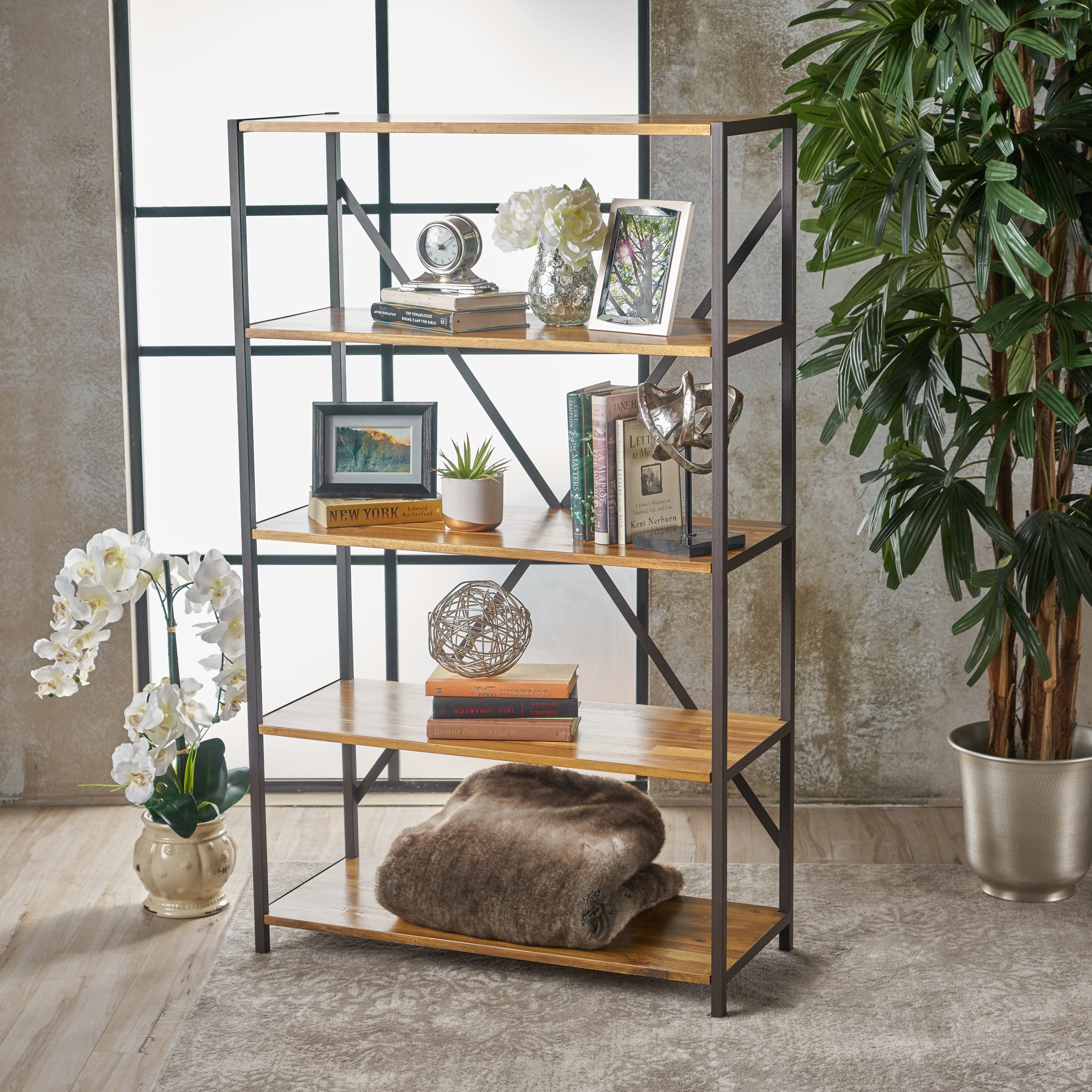 Roney Modern Industrial 4 Shelf Acacia Wood Bookcase By Christopher Knight Home 34 00 W X 14 50 D X 56 50 H