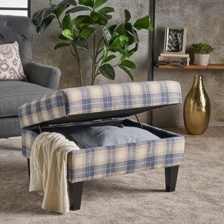 Daisha Plaid Pattern Fabric Square Storage Ottoman Bench by Christopher Knight Home