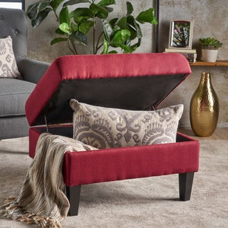 Evaline Buttoned Fabric Square Storage Ottoman Bench by Christopher Knight Home